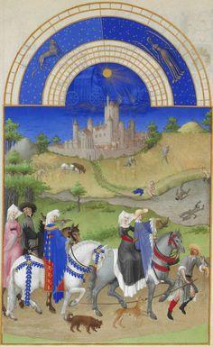 """August """"Les Très Riches Heures du duc de Berry."""" Limbourg Brothers. Les Tres Riches Heures Du Duc de Berry. August, Falconry, The background contains the Château d'Étampes. (1412-16)"""