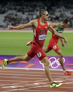 United States' Trey Hardee wins his heat in the men's decathlon 400-meters during the athletics in the Olympic Stadium.