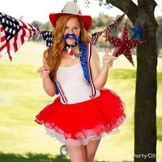 Wrangle in some laughs as the Firecracker Sheriff! Pop on red and white tutus, striped suspenders, a cowboy hat and a blue handlebar mustache for silly 4th of July style! costum, juli parti, holiday happi, juli sparkler, 4th of july, parti balloon, merican fustercluck, cowboy hats, parti idea