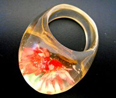 Lucite Bubble Ring Domed Orange Flowers Vintage by RenaissanceFair