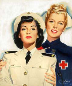 A strikingly beautiful painting by Jon Whitcomb, 1944. Red Cross nurse and Navy Nurse