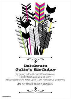 invitations, game parti, hunger games decor, birthday parties, arrow, the hunger games party ideas, game invit, parti idea, design