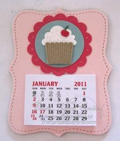 Magnet calendar using the Stampin Up! Sizzix top note die & cupcake punch