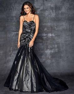 Blush Prom 9506 - Rock the party in this formal prom dress! Pure elegance in this stunning beaded black-silver print over a flowy full skirt.  #prom