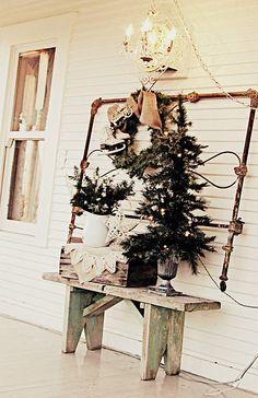 houses, bed frames, vintage christmas, bench, window displays