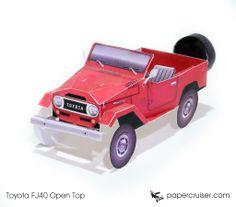 Simple FJ40 (Open Top) Land Cruiser Paper Model | http://papercruiser.com/downloads/toyota-fj40-open-top/