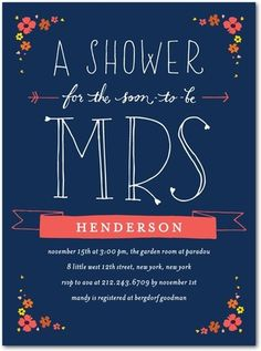 shower invite with brilliant typeface and font