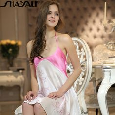 Shaya Lee silk sexy lingerie girl in autumn and winter in exclusive and original classic art of painting on silk silk nightdresses