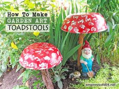 How to make garden art toadstools. The gnomes will thank you.