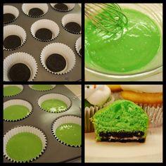 "St. Paddy's Cupcakes...Oreo ""crust""!"