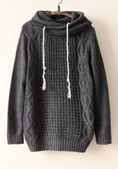 Grey Plain Lotus Collar Long Sleeve Acrylic Sweater.. this looks so COZY!!!
