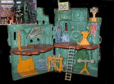 Castle Greyskull is kind of a big deal: Without it, Prince Adam wouldn't be able to transform into the most powerful man in the universe. Released in 1982, this interactive playset allowed kids to harness the power of Greyskull themselves. The toy had a roof-mounted laser cannon, workable elevator, a rack with set-exclusive weapons, a lockable drawbridge, and a trap door activated when the throne was turned—all the better to defend the fortress and Eternia from the evil forces of Skeletor.