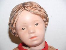 Antique Wood Schoenhut Doll Carved Hair and Pink Bow