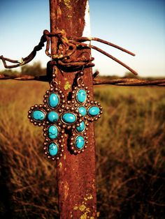 Copper Turquoise Cross Earrings