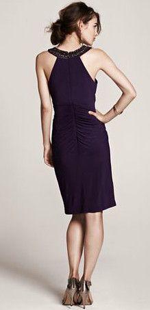Sleeveless Jersey Dress with Beaded Neckline Style XS5452 #davidsbridal #fallweddings #weddingguest