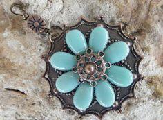 Copper Flower Pendant on Etsy