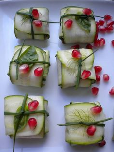 when #uPARTY: Mediterranean Baskets (appetizers): Raw zucchini wrapped around hummus or Babaganush