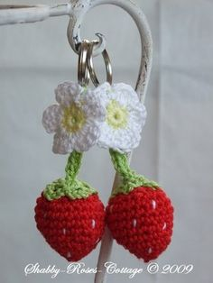 Crochet Strawberries and Strawberry Blossoms Keychain - free pattern