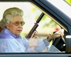 A state trooper stopped a 95 year old woman on Interstate 75, and noticed as he was checking her drivers license, that she had a concealed carry permit. He said got any guns with you ma'am? She said yes, a 45 Smith & Wesson in the glove compartment, a 357 magnum in the console and a 38 special in my purse. The trooper said LADY, what are you so afraid of. She said.... NOT A DAMN THING!