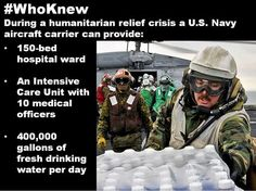 """When a natural disaster hits, U.S. Navy aircraft carriers and their crew members are first responders to the scene providing humanitarian relief and aid proving time and again that an aircraft carrier is """"More than a Warship."""" #AircraftCarrier #WashingtonCVN73"""