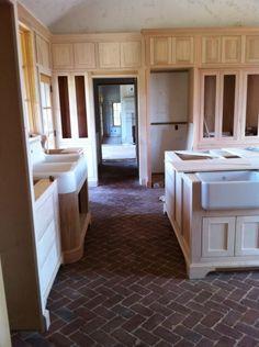 brick flooring in kitchen