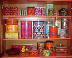 Lovely colourful vintage tin collection.