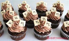 Scrabble cupcakes