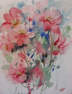 Fred Jaarsma,          Roses sauvages/Wilde rozen,         aquarelle/aquarel         30x40 cm,          80,-- euro