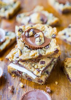 two-ingredient peanut butter cup chocolate chip cookie dough bars.