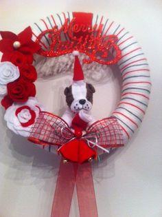 Cute Christmas Handmade Yarn WreathDoorWall by astrausa on Etsy,