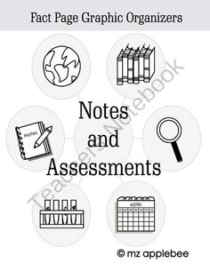 Graphic Organizers: Notes and Assessments from mz applebee on TeachersNotebook.com -  (25 pages)  - This set of EASY PRINT graphic organizers can be used for assessments, projects, reports, notes, recording pages, and study guides.