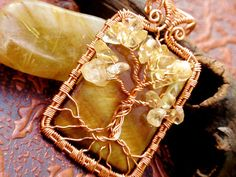 Citrine and shell tree of life pendant. copper. by TheSeventhOak, $40.00