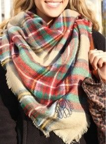 Plaid Scarf - Red an