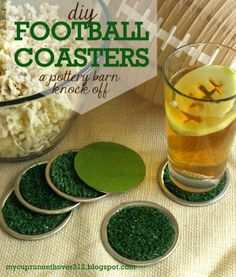 DIY Football Coasters - a Pottery Barn Knock Off. Perfect for your Superbowl Party!