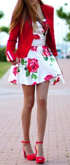 Red Rose Print Skater Dress + Blazer, Pumps.