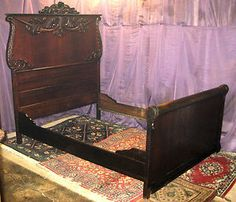 1905 Antique Victorian Quarter Sawn Tiger Oak High Back Bed Full Double | eBay