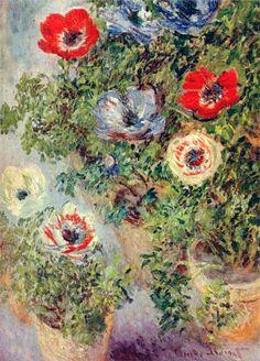 claud monet, life, claude monet, 1885, paint, artist, claudemonet, flower, anemones