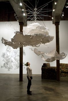 Cloud Installation: the artist found a way to make the clouds 2D, yet still very full and cloud like.