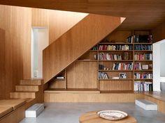 interior design, architects, wood, danish, under stairs, villas, denmark, villa wienberg, summer houses