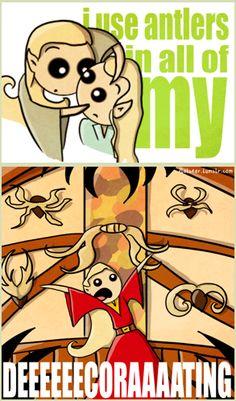 Thranduil = Gaston (from flatbear.tumblr.com)