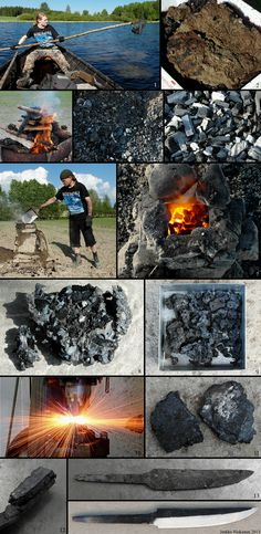 This guy found iron ore, smelted it, and forged a knife in a forge he made.