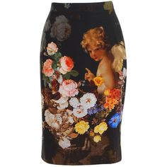 DOLCE & GABBANA Silk Stretch Cherub Skirt ($900) ❤ liked on Polyvore