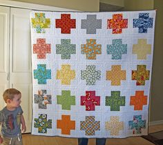 modern crosses comfort quilt by Spotted Stone Studio {Krista}, via Flickr