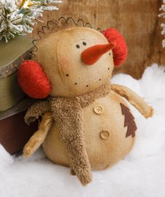Burlap Buddies - Snowman with Earmuffs