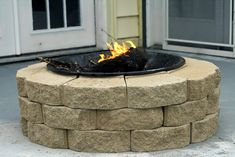 DIY Firepit for $30!  A bowl from old firepit; blocks 12 inch ones at about 1.60 which would work... and you would use less... or you could use any bricks you can find. So here is everything you need... to DIY a fire pit. Build a base of bricks... Double Check your work to make sure everything is stable and secure... And as a result... A super cute fire pit... for 30 bucks! Yay!