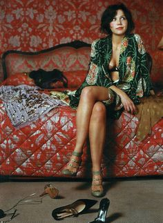Maggie Gyllenhaal robes, green shoes, kimono, peopl, maggi gyllenha, style, color, red rooms, secretary