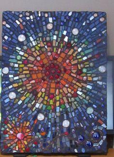 sunburst mosaic, tile mosaic crafts, stain glass, circl glass, mosaic sunburst, colorful mosaic