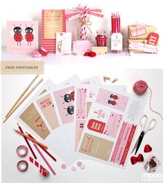 valentine's printables from mooo