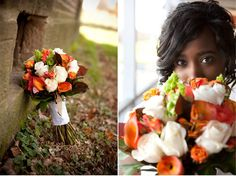 Fall flower bouquets #orange #white #roses