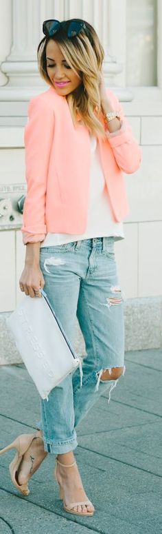 pastel, boyfriend jeans, day outfits, dressy spring outfits, blazer, front jacket, holy jeans outfit, peach, coral jacket